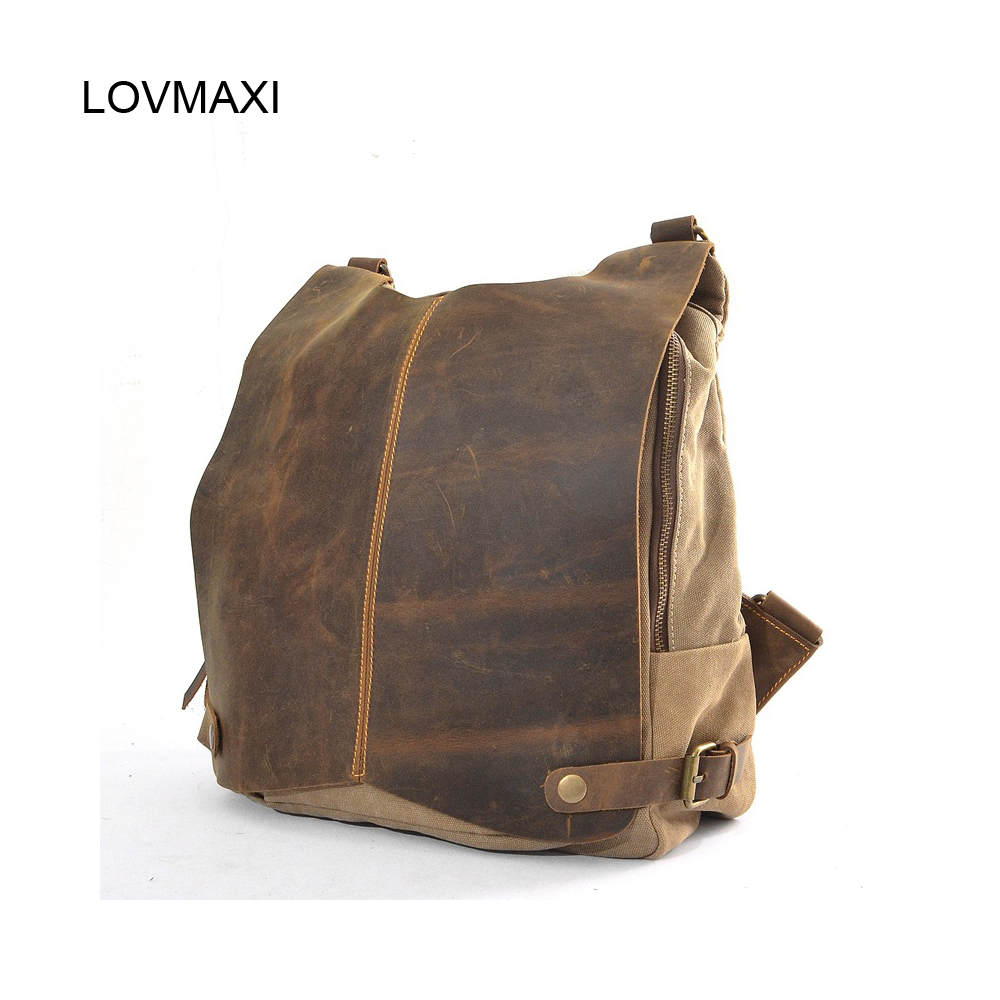 LOVMAXI New arrival causal unisex Canvas backpacks canvas crazy horse leather backpack vintage male bags