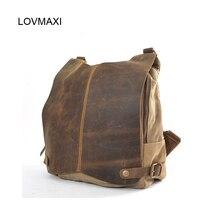 LOVMAXI Nouvelle arrivée de causalité unisexe Toile sacs à dos toile + crazy horse sac à dos en cuir vintage mâle sacs