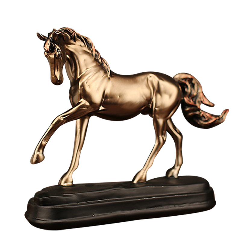 Vintage Resin Copper Horse Ornaments Artificial Wine Cabinet Crafts Home Decor Soft Accessories Business Gifts Imitation Animal