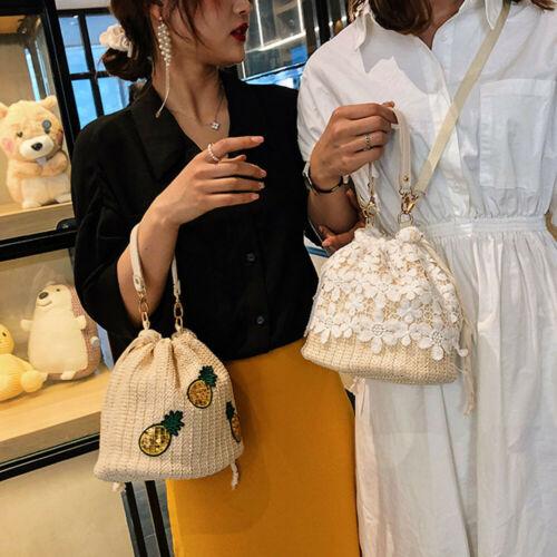 Flower Handbag Straw-Bag Bucket Rattan Bag Lace Circle Woven Beach Summer New-Fashion