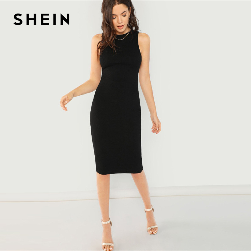 4e29f25ab731 SHEIN Black Elegant Solid Pencil Dress Slim Sleeveless Knee Length Sexy  Workwear Dresses Women Plain Sheath Summer Dress ~ Hot Deal June 2019