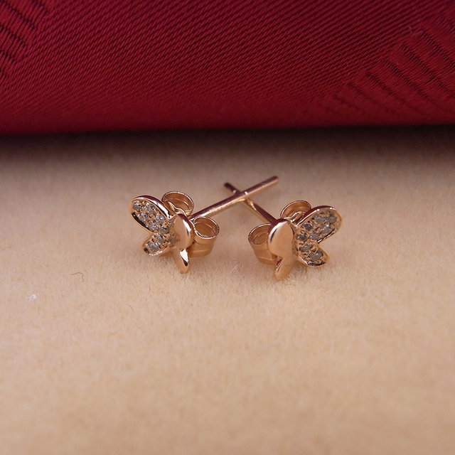 Sinya 18k Gold Diamond Stud earring Rose gold Butterfly fashion design high luster fine jewelry for women ladies girls Hot sale 1