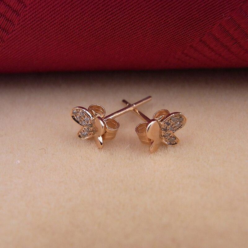 Sinya 18 k or diamant Stud boucle d'oreille or Rose papillon mode design haut lustre bijoux fins pour femmes dames filles offre spéciale