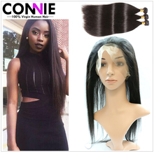 360 Lace Frontal With Bundles Brazilian Straight Hair Pre Plucked Frontal With Bundles Human Hair With 360 Lace Frontal Closure