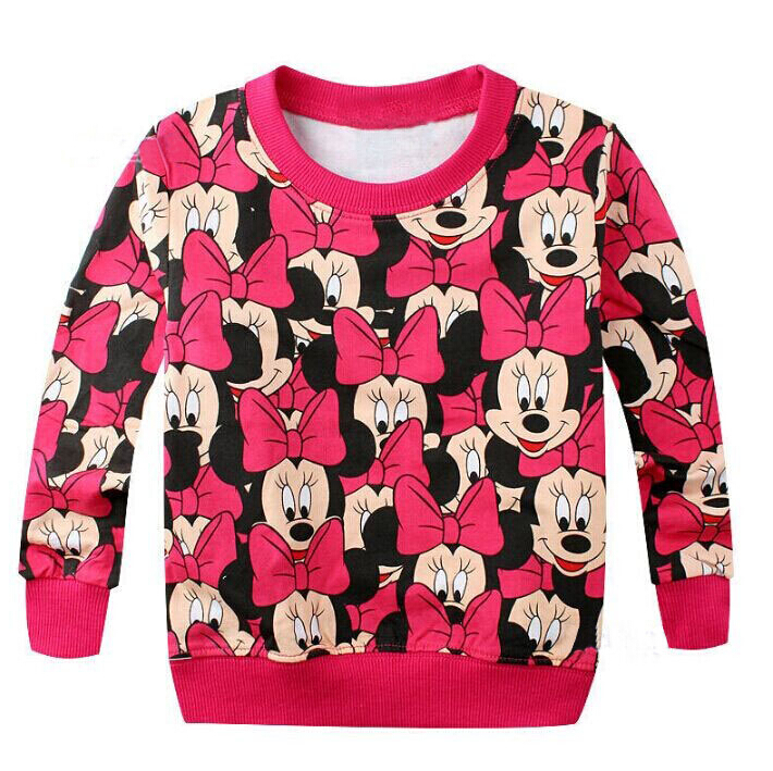 Hot Sell autumn children casual sweater terry hoody cartoon girl t shirt / top bowknot printed cute baby girls clothes cotton