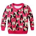 Hot Vender 2017 primavera crianças casual camisola com capuz terry menina dos desenhos animados t camisa/top Minnie mouse impresso bonito do bebê roupas das meninas