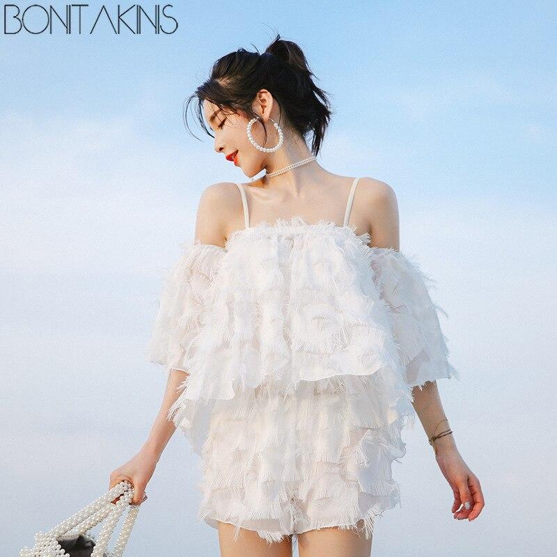 Bonitakinis Swimsuit Solid White Tassel Cover Ups Bikini Set Small Asia Size Sweet Young Lady Bathing