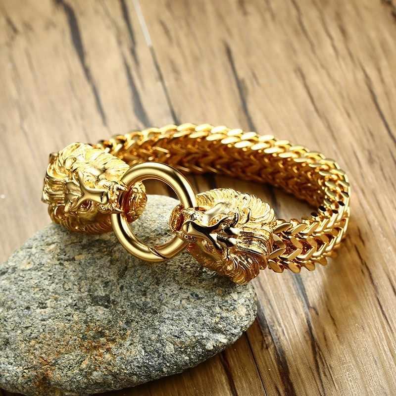 3c010c7bfa717 ... Antique Double Lion Head Herringbone Chain Bracelet for Men Stainless  Steel Gold Tone Hip Hop Punk ...