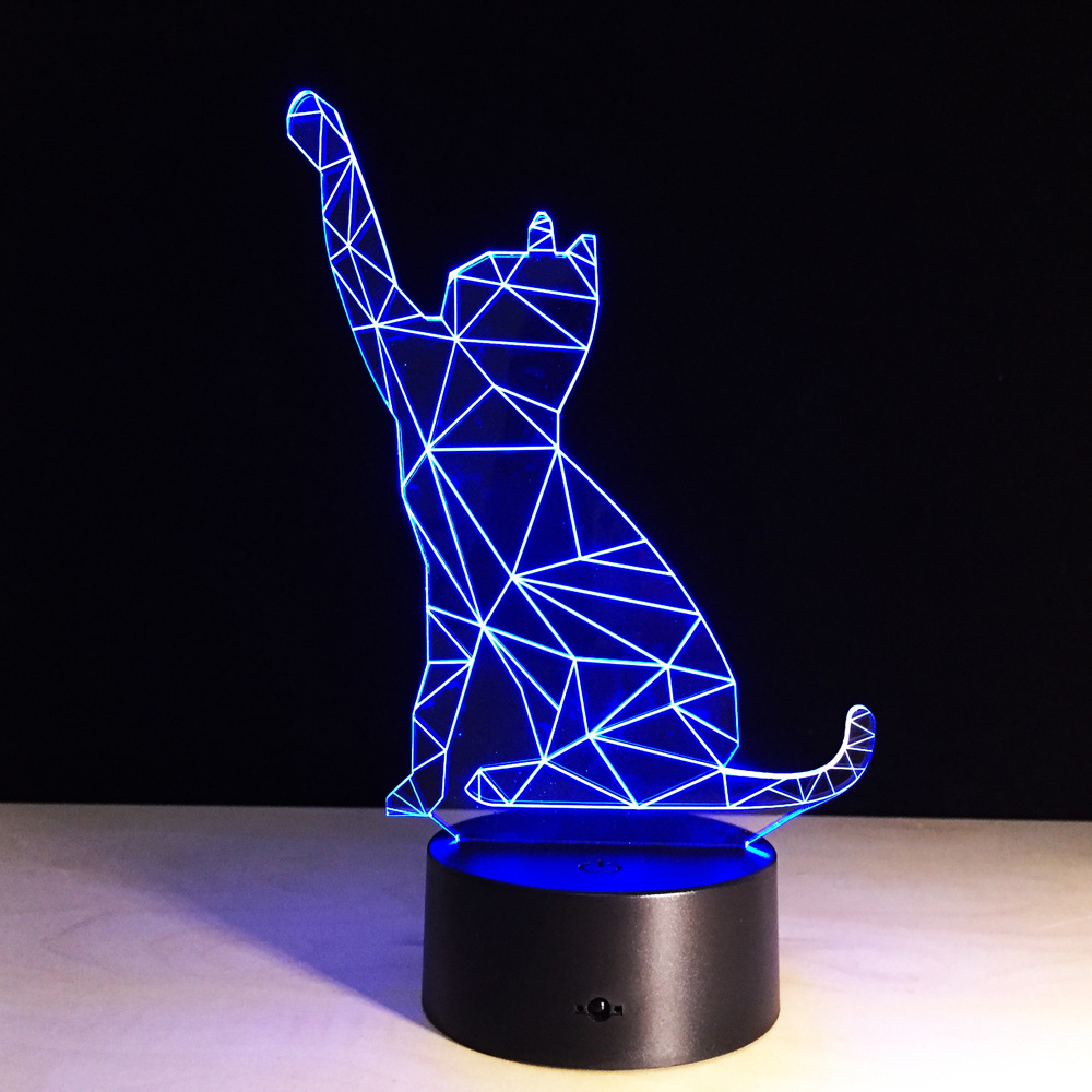 cheap Cartoon Animal Decoration LED Cat Lamp Good Fortune for Office Desk Decor with RGB Color Changing Effect  Made in China pic,image LED lamps deals