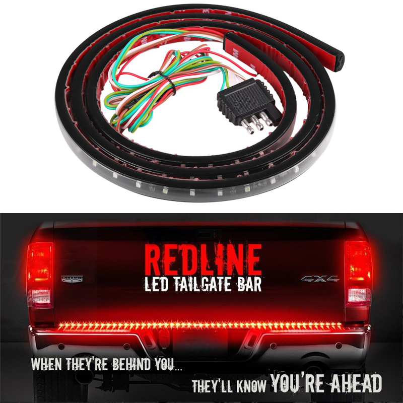 Waterproof 60 Flexible LED Light Strip Brake Tail Turn Signal Light Bar 5-Function Red White DRL For Ford GMC Truck SUV Pickup