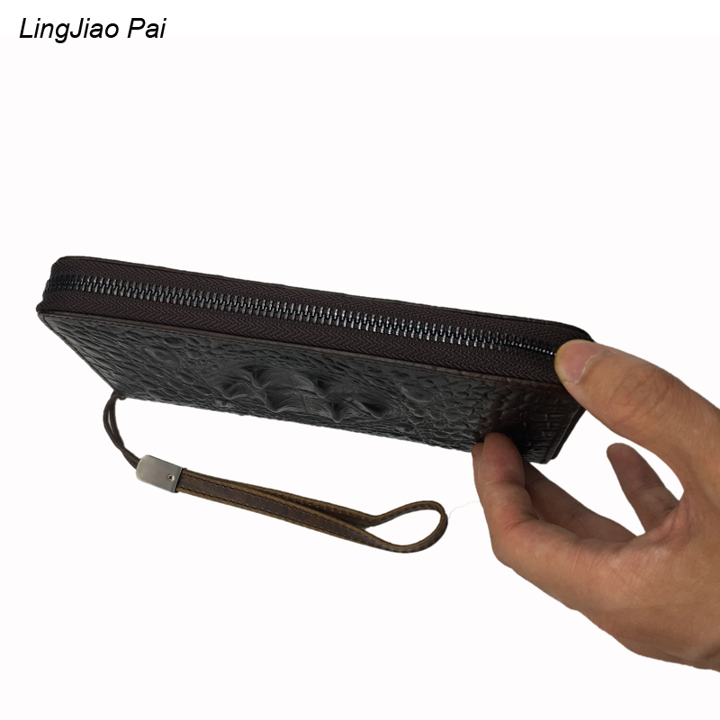 LingJiao Pai New fashion men wallet genuine leather purse and handbags for male luxury  Crocodile print zipper men clutches new fashion men wallet pu leather purse handbags for male luxury brand black no zipper men clutches free shipping card holder