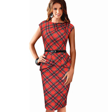 Dropshipping 2016 New Women Vintage Elegant Plaid Belted Tartan Peplum Ruched Tunic Work Party Cap Sleeve Bodycon Sheath Dress