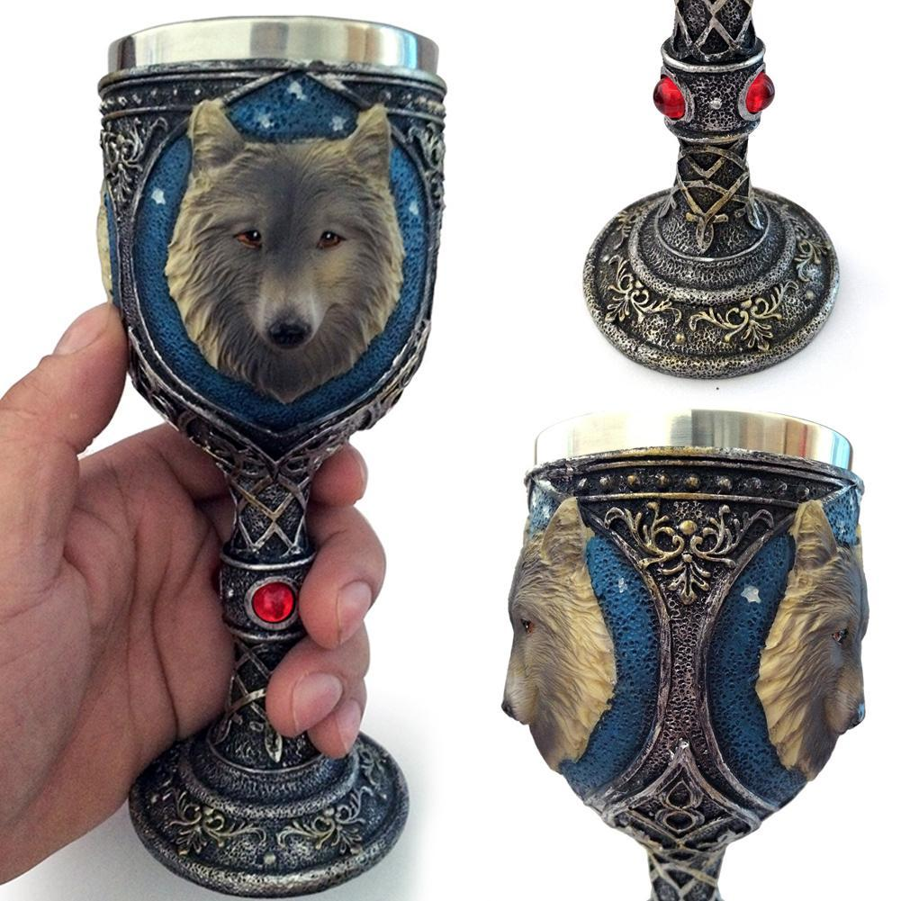 1pc Wolf King Drinking Mug 3D Wine Goblet Cup Home Supplies Double Wall Resin Stainless SteelPersonalized
