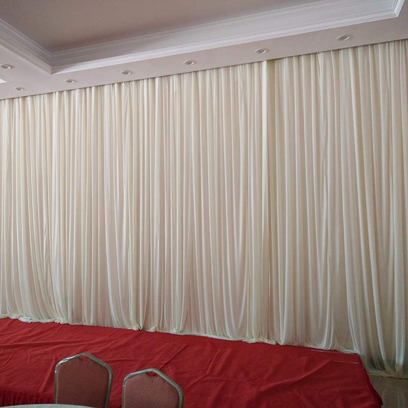 3m6m pure white wedding stage background silk drape decoration white wedding backdrop curtain event - Silk Drapes