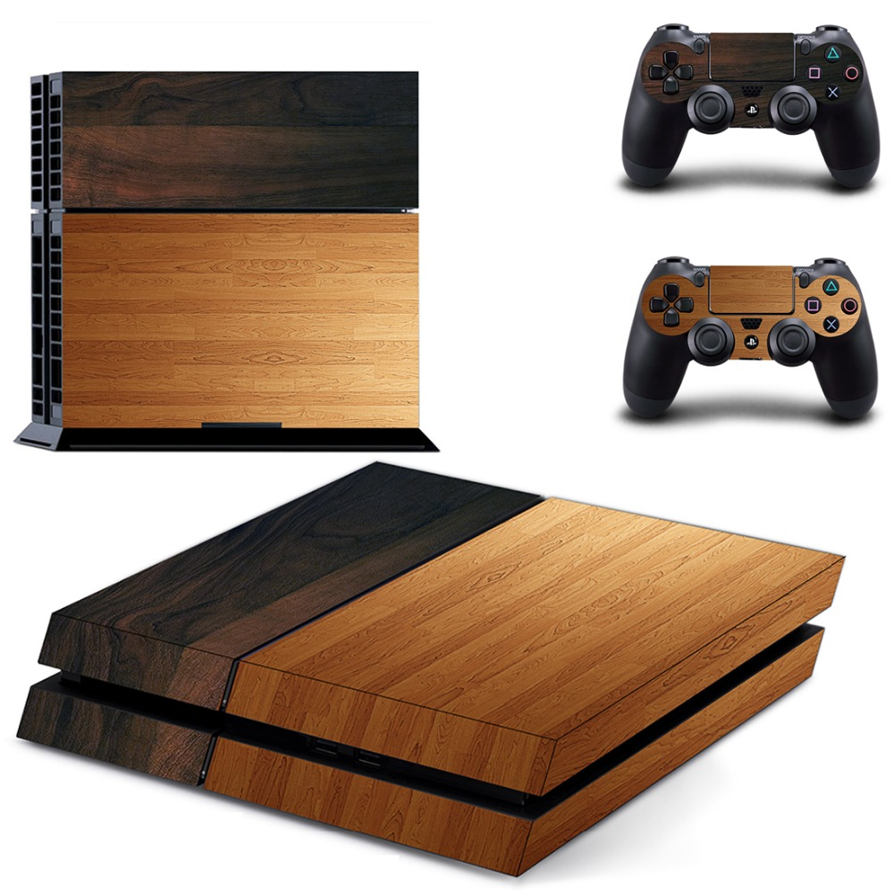 Wood Vinyl Cover Decal PS4 Skin Sticker for Sony PlayStation 4 Console & 2 Controller Skins for PS4 Accessories педаль эффектов vox v847 a wah