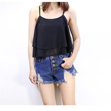 Wei JiXiong 2017 Summer New Solid Sexy Crop Tank Top Chiffon Sleeveless Women Camis Loose 2Layers Large size High Quality Blouse