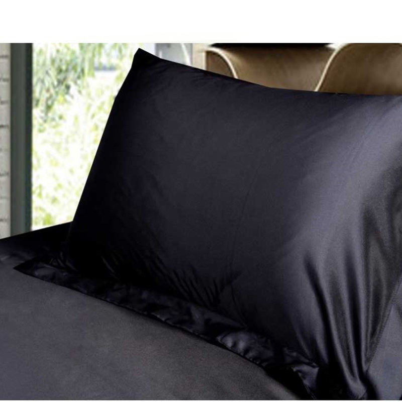 Standard Polyester Satin Silk Soft Pillow Case Modern Simple Solid Color Pillowcase Smooth Home Pillow Cover Black 48cmx74cm