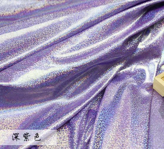 Флуоресцентные ткани лазерного стрейч вязать Красочные блестящей ткани этап свадебный декоративная ткань для шитья, ткань для кукол 150 см * 50 см