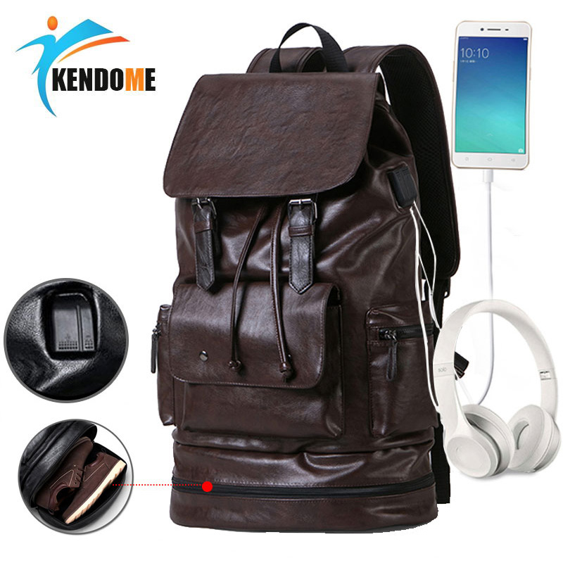 Bright Fashion Men Usb Pu Leather Gym Backpack For Fitness Boys Training Bag With Shoes Storage Male Travel Duffle Se De Sport Bolsa Camping & Hiking Sports & Entertainment
