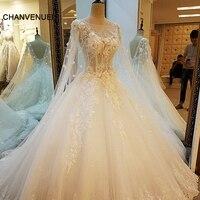 LS36759 Ivory Lace Księżniczka Suknie Ślubne Perły Diament Luksusowe Najnowszy Bridal Suknie Ślubne 2017 Vestido De Noiva Real Zdjęcia