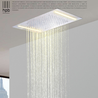 HPB 2 function luxury stainless steel LED rainfall ceiling mounted shower faucets head 500mmx360mm massage led shower L 5036D