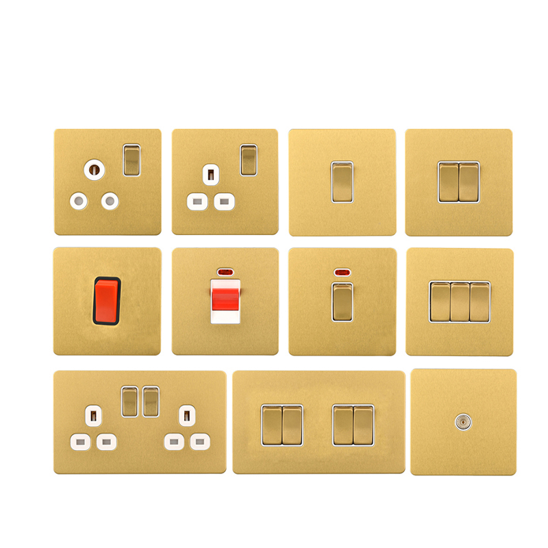 Cognag 1 Gang Female TV Connector Luxury Wall Socket Outlet Stainless Steel Brushed Gold Frame Pane lWeak electricit in Electrical Sockets from Home Improvement