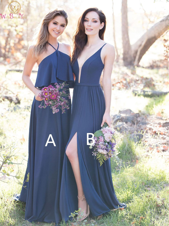 Elegant Navy Blue   Bridesmaid     Dresses   2019 Split A Line Sleeveless Floor Length Long Chiffon Wedding Party   Bridesmaid   Prom Gowns