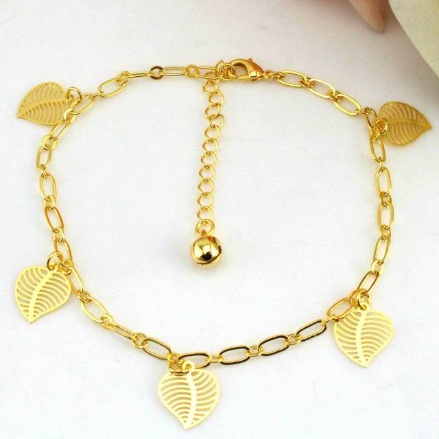 gold anklet adjustable ankle leafs chain bracelet delicate pin leg