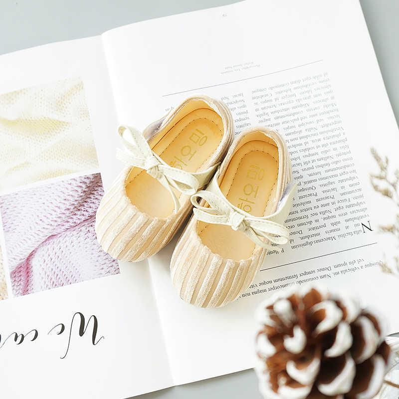 ฤดูใบไม้ผลิใหม่เด็กทารก Bow รองเท้าเด็ก Flock รองเท้าเด็กวัยหัดเดินรองเท้าแบรนด์รองเท้ารองเท้า Mary Jane 2019
