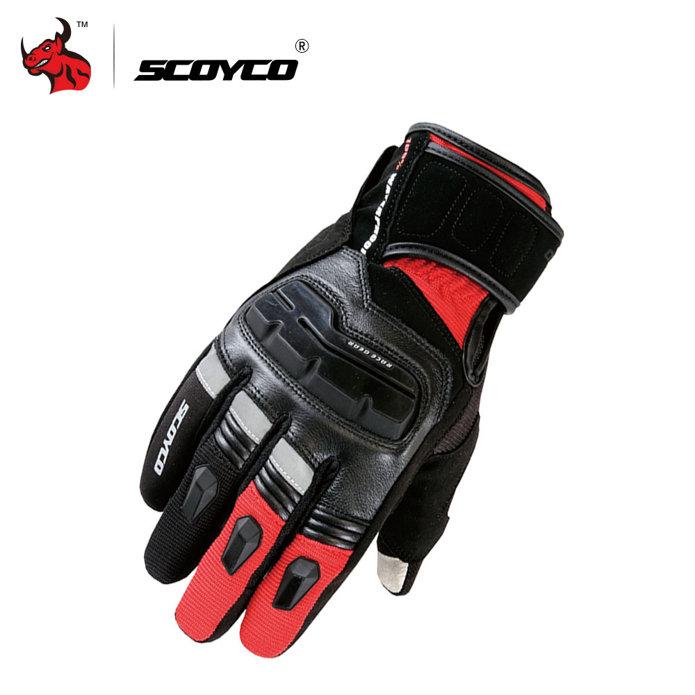 SCOYCO Motorcycle Gloves Genuine Cow Leather Moto Gloves Touch Screen Waterproof Motocross Gloves Winter Motorbike Riding Gloves