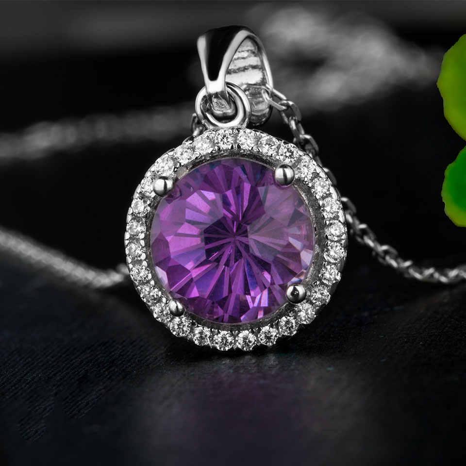 Kuolit 2.2ct натуральный аметистовый драгоченный камень подвески ожерелья для женщин 925 пробы серебряные ювелирные изделия Огонь работы драгоценные камни свадебный подарок