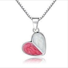 TJP Latest Female Fashion Heart Pendants Necklace Jewelry Top Quality 925 Sterling Silver Choker For Women Bijou WHE214