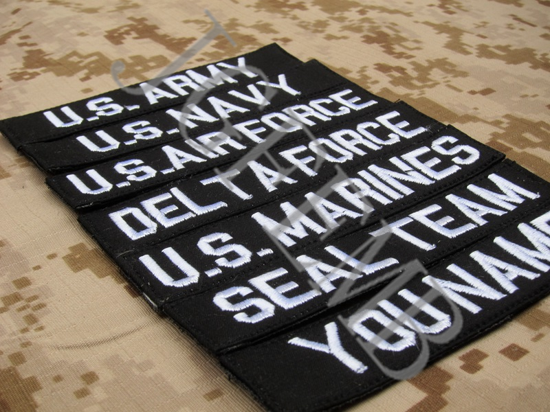 Black Custom Name tapes Chest Tapes Services Tapes morale tactical military  Embroidery patch Badges