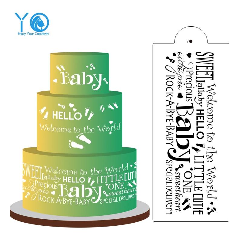14in * 6in Hello Baby Words Cake Stencil Fondant Herramientas de - Cocina, comedor y bar - foto 1