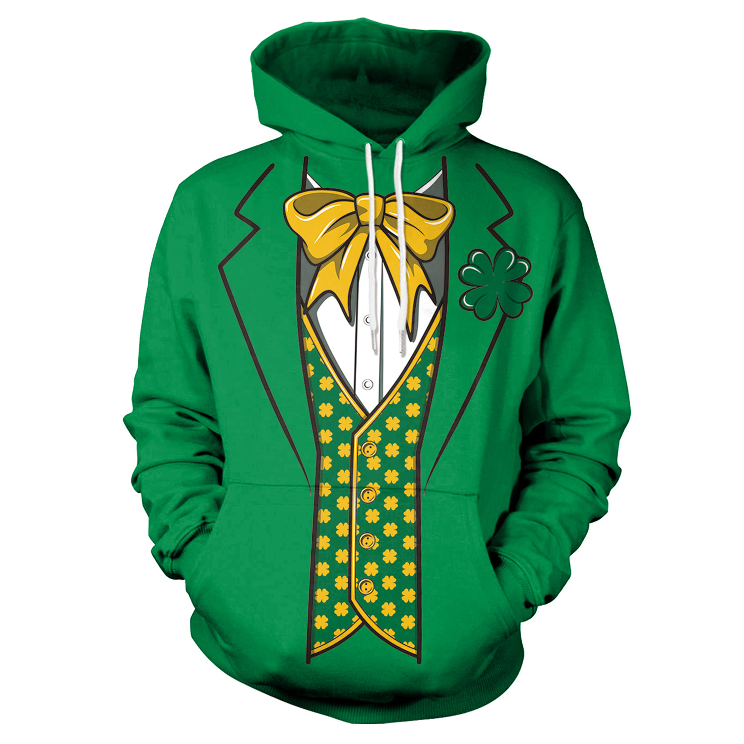 St Patrick's Day Green Shamrocks Tie Print Hoodies Men Hoodie with Hat Round Neck Loose Sweatshirt Pullover Streetwear