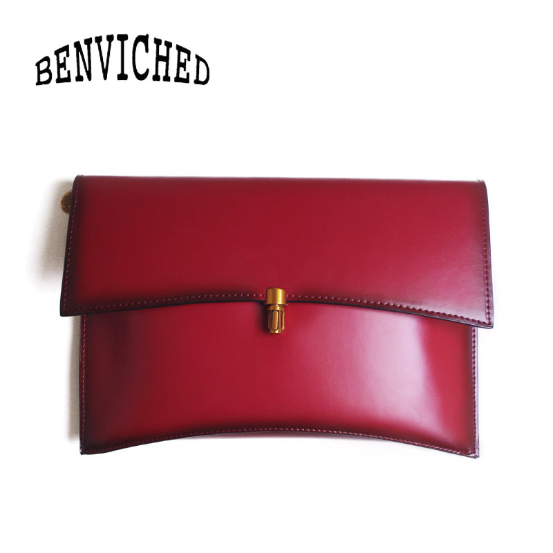 BENVICHED Ladies Genuine Cattle leather Envelope bag 2019 new fashion women handbag single shoulder bag retro Banquet bag c386BENVICHED Ladies Genuine Cattle leather Envelope bag 2019 new fashion women handbag single shoulder bag retro Banquet bag c386