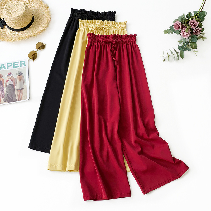 2019 Summer New Arrival Droop Feeling High Waist Loose   Wide     Leg     Pants   Ice Silky Chiffon Straight   Pants   Tie   Pants   Free Shipping