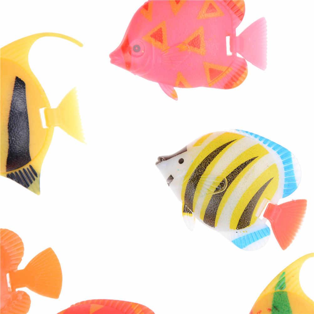10 pz/lotto Artificiale Pesci Piccoli Pesci Simulazione Falso Pesce Galleggiante Vivido Paesaggio Acquario Ornamento di Plastica Decorazione