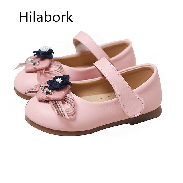 2017 new girl soft surface shoes casual butterfly flower princess fashion square mouth flat bottom children soft bottom shoes