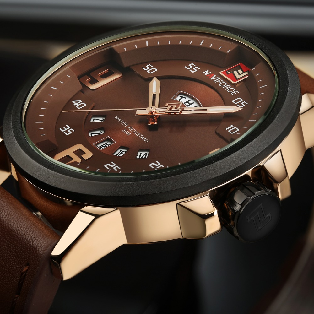 NAVIFORCE New Luxury Brand Men Army Military Wrist Watches Men's Quartz Date Clock Male Leather Sports Watch Relogio Masculino luxury brand men s quartz date week display casual watch men army military sports watches male leather clock relogio masculino