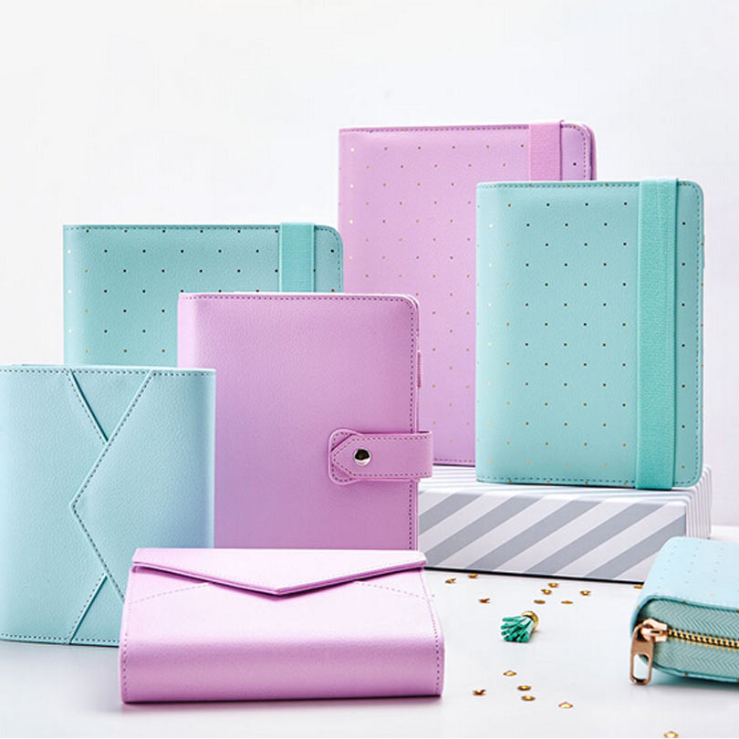 2015 Dokibook Mint and White color A5 A6 Pouch Series Spiral Time Planner Pencil Case Zipper leather Notebook Diary Agenda
