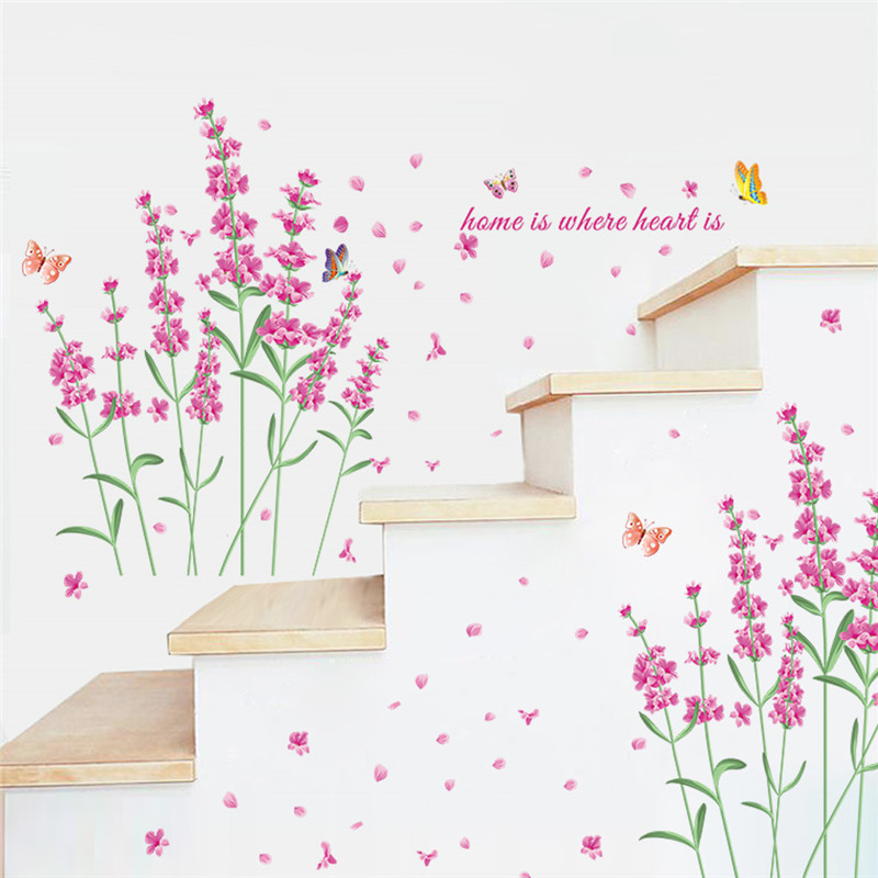 Romantic Diy Nature Flowers Butterfly Wall Stickers Home Is Where