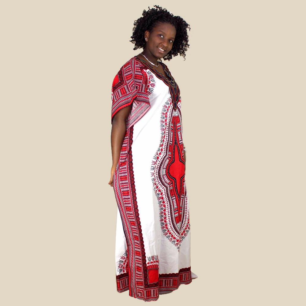 Plus Size Vintage 70s Traditional Womens African Dashiki Dress Party Hippie Ankara African Print Fabric Maxi Loose Dress in Dresses from Women 39 s Clothing