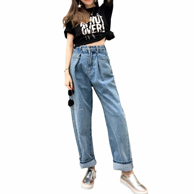 Casual High Waisted Mom   Jeans   Vintage Wide Leg   Jeans   Women Baggy Boyfriend   Jeans   Retro Long Loose Denim Simple Bf Cowboy Pants
