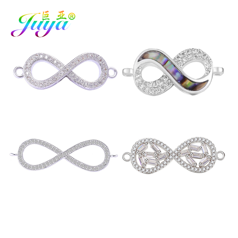 Juya Infinity Jewelry Supplies Micro Pave Zircon Infinity Charm Connector Accessories For Women Bracelet Necklace Earring Making