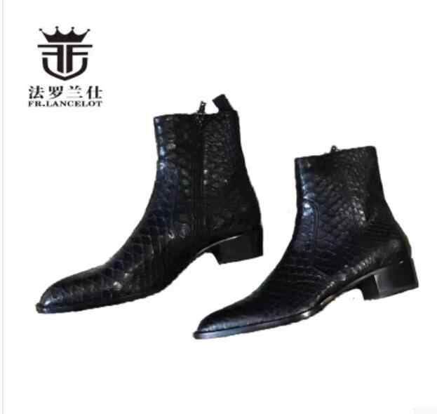 many fashionable good texture purchase cheap 2019 FR.LANCELOT New fashion print real leather ankle boots top ...