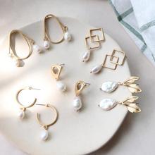 Women Classic Metal Line Minimalist Design Earrings Matte Vintage Baroque Pearl