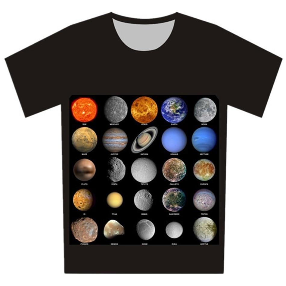 Joyonly 2019 детские черные футболки детские летние топы для девочек и мальчиков футболка с коротким рукавом галактика земля Луна Вселенная детс...