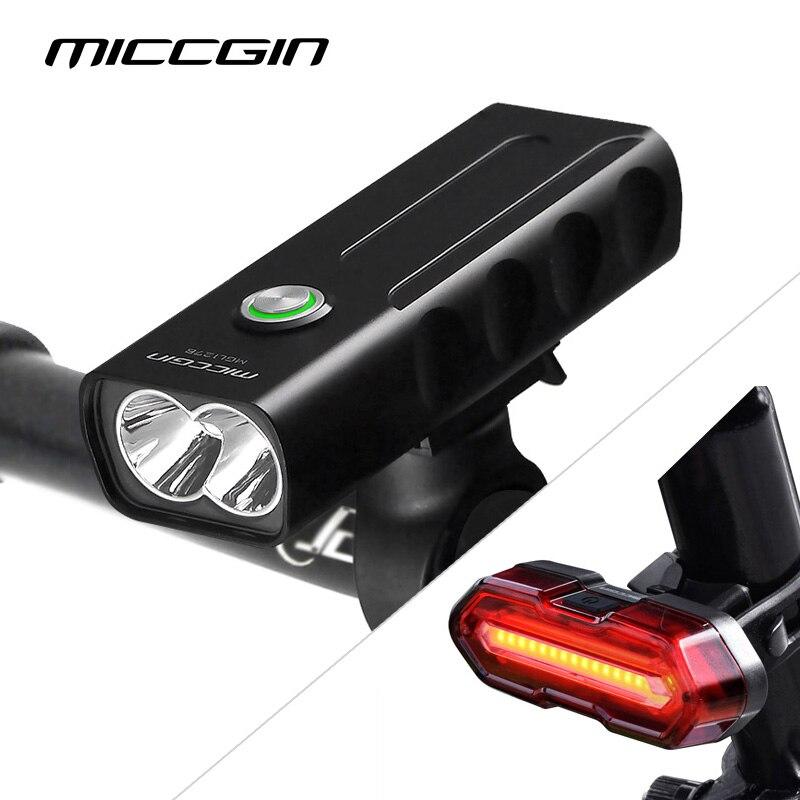 MICCGIN LED bicicleta MAX 1000LM frente trasero de la bicicleta de luz de linterna para bicicleta linterna T6 18650 USB recargable lámpara