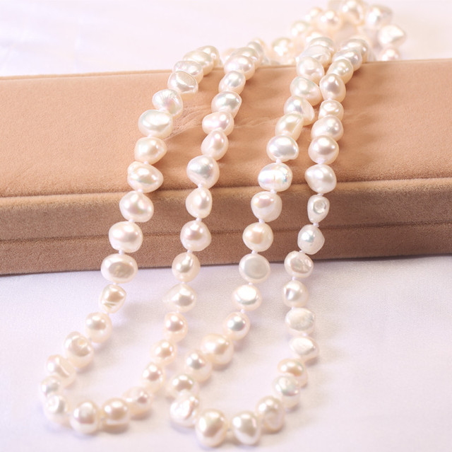 100% Freshwater Pearl Necklace For Women White Natural Pearls Jewelry necklace  cultured freshwater pearl necklace jewellery